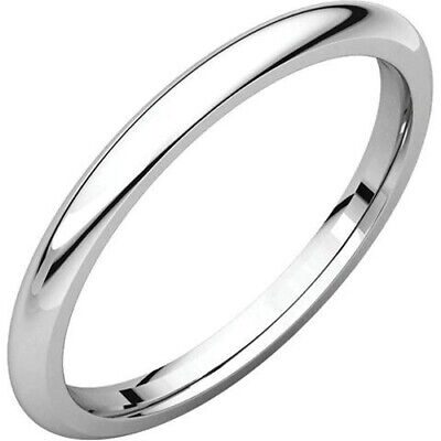 2mm 14K Solid White Gold Plain Dome Half Round Comfort Fit Wedding Band -