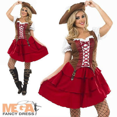 Deck Hand Pirate Girl Fancy Dress Ladies Pirates Womens Adult Costume + Hat New