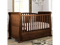 Sleigh cot/day bed in dark finish and memory foam airsprung matress