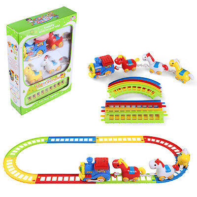 Battery Operated Musical Animal Horses Friends Train & Track Play Set Kids Gift