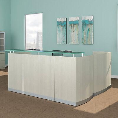 Modern L-shaped Reception Desk White Receptionist Station Waiting Room Salon New