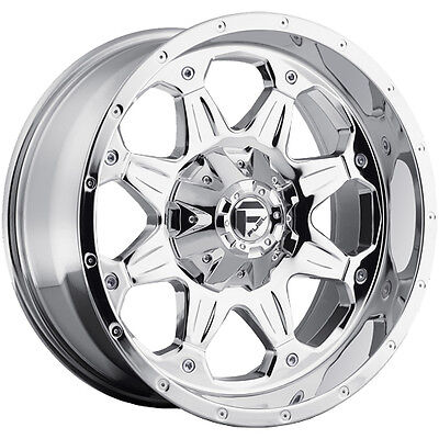 18x9 Chrome Fuel Boost 5x4.5 & 5x5 +1 Rims W/ Nitto NT555R P305/40R18 Tires New
