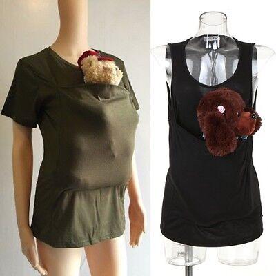 Men Women Clothes Kangaroo Dad Mum Baby Carrier Infant T-shirt Vest Brood - Kangaroo Baby