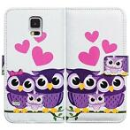 Paars uil love book wallet case hoesje Samsung Galaxy S5