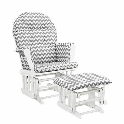 Angel Line Windsor Glider and Ottoman White Gray Chevron (Angel Line Rocking Chair)
