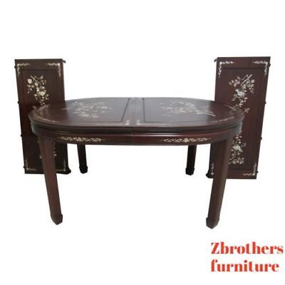 Купить Vintage Rosewood Chinese Chippendale Mother Of Pearl Dining Room Banquet Table