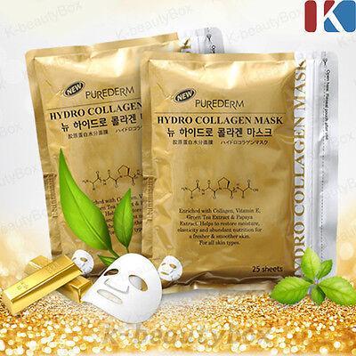PUREDERM Hydro Collagen Gold Mask 1pack (25 sheets) Korean Cosmetics k-beautybox