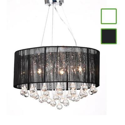 - Drum Shade Pendant Crystal Ceiling Light Chandelier Lighting Fixture Black/White