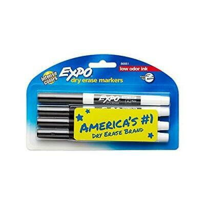 Expo 86661 Low-odor Dry Erase Markers Fine Point Black 4-count