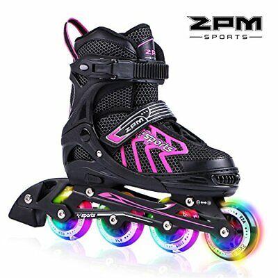 Comfortable Roller Skates for Girls - Inline Skates w/ Light Up LED Wheels (L) - Lights For Roller Skates
