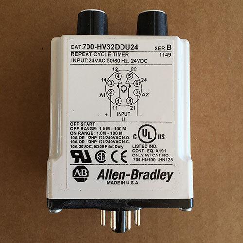 NEW Allen-Bradley 700-HV32DDU24 Repeat Cycle Tube Base Timing Relay