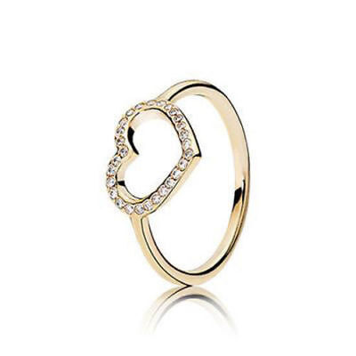 3d90236a3 NEW! Authentic Pandora 14K Gold Captured Heart Ring #150179CZ-52 (6)