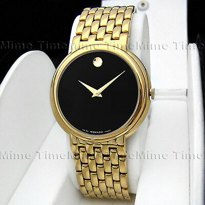 Men's Movado CERTA Latest Mould Black Dial 18K Gold Tinge Swiss Watch 0605647