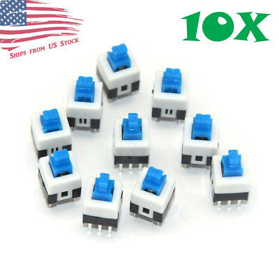 10 Pcs 7x7mm Tactile Tact Push Button Self Locking 6 Pin Switch DIP PCB Mount US