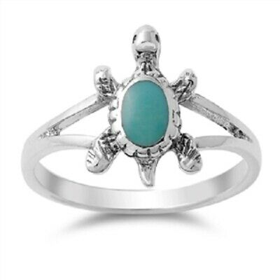 .925 Sterling Silver Women's Turquoise Sea Turtle Polished Band Ring Size 5-10