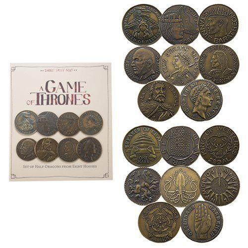 """GAME OF THRONES """"HOUSE HALF DRAGONS SET"""" Set of 8 coins Shire Post Mint NEW"""