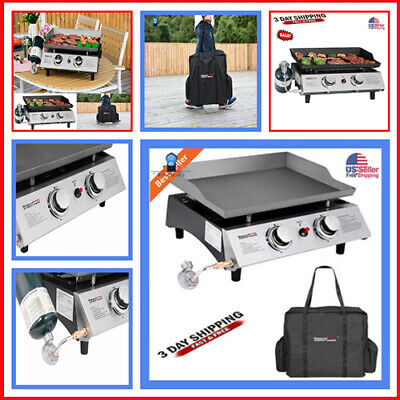 Burner Portable Stainless Steel BBQ Table Top Propane Gas Grill Outdoor Cover ()