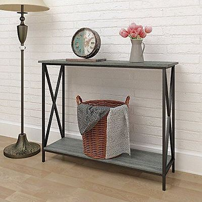 Weathered Grey Oak Finish 3-Tier Metal X-Design Occasional Console Sofa Table...