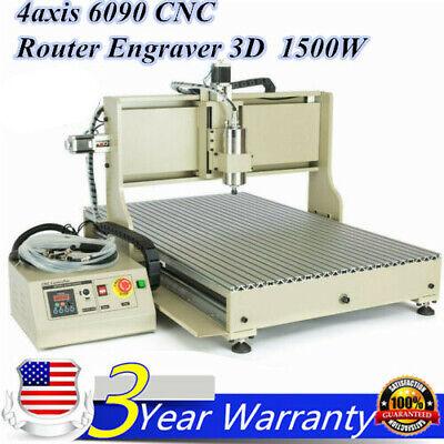 Usb 4axis 6090 Cnc Router Engraver 3d Engraving Metal Milling Cut Machine 1500w