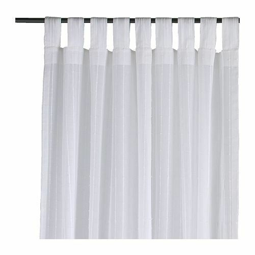 Ikea Pair 3m Long Sheer White Cotton Matilda Tab Top Curtains Stitch ...