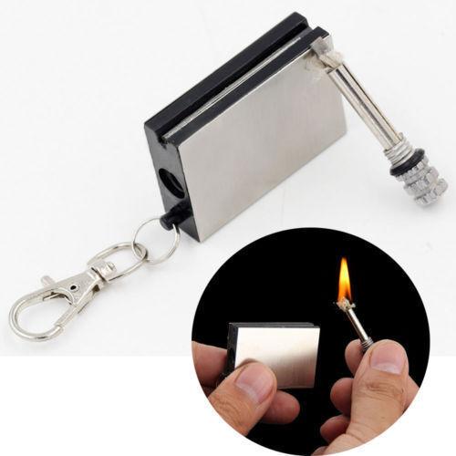 Permanent Metal Match Box Lighter Cigarette Camping Keyring Novelty