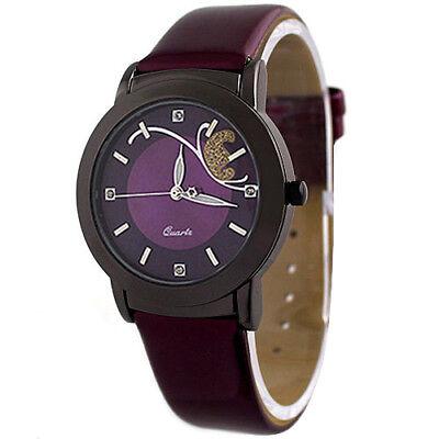 Fashion Women Faux Leather Butterfly Rhinestone Dial Dress Wrist Watch