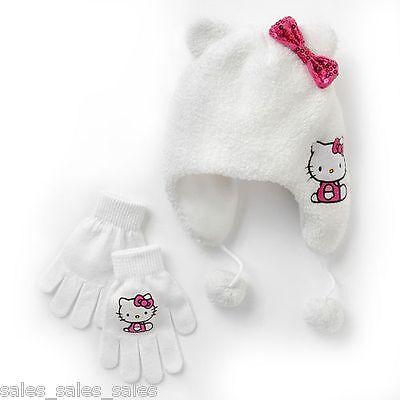 Hello Kitty Hat Gloves Set for Girls sherpa Fleece Earflap osfm