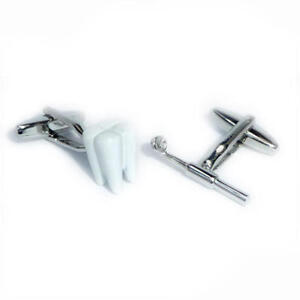 Tooth & Dentists Inspection Mirror Cufflinks & Gift Pouch - Dentist