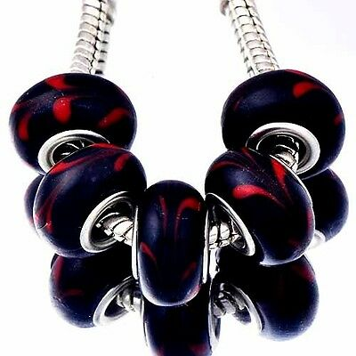 5X European Charms Beads Black And Red Glass Making Jewelry LAMPWORK Bracelet