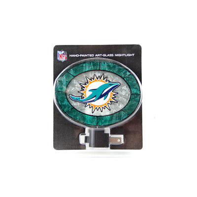 Memory Company Nfl Art (NFL Miami Dolphins Hand Painted Art Glass Night Light )