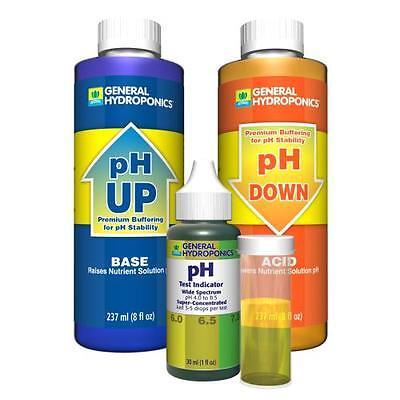 General Hydroponics pH Control Kit Water pH Down pH Up Adjustment - pH Test Kit