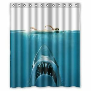Hidden Risk Jaw White Shark Polyester Fabric Bathroom Shower Cur