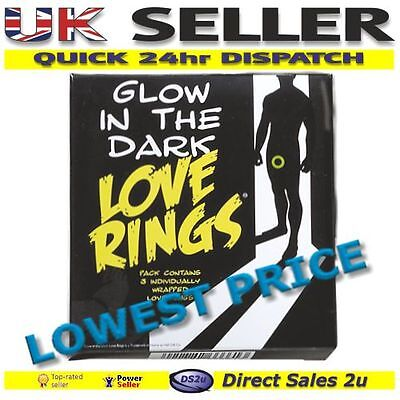 3 x Glow in the Dark Love Rings Male Penis Erection Enhancer Impotence Sex Aid
