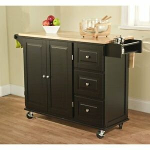 kitchen island butcher block storage cabinet wood furniture with locking wheels ebay. Black Bedroom Furniture Sets. Home Design Ideas