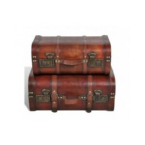 Wooden Treasure Chest Vintage Storage Trunk Brown Retro Trunks Furniture Chests Ebay
