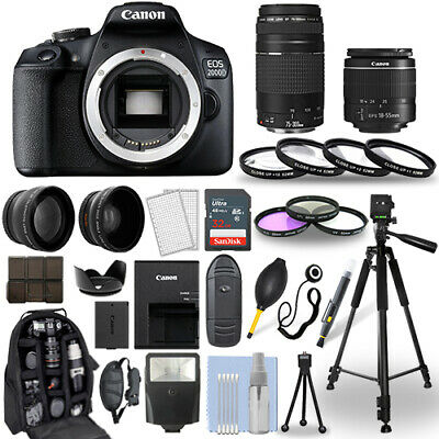 Canon EOS 2000D / Rebel T7 DSLR Camera + 18-55mm + 75-300mm + 30 Piece Bundle
