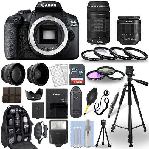 Canon EOS 2000D / Rebel T7 DSLR Camera + 18-55mm + 75-300mm + 30 Piece Bundle