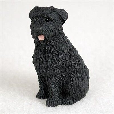 BOUVIER uncropped dog TiNY FIGURINE puppy HAND PAINTED MINIATURE Mini Statue NEW
