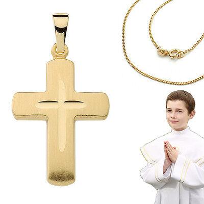 Kinder Kreuz Anhänger Echt Gold 333 zur Taufe Kommunion mit Kette Silber verg.
