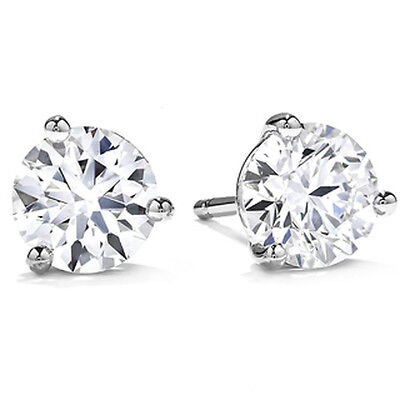 Gold Brilliant Cut Diamond - .50Ct Round Brilliant Cut Natural Diamond Stud Earrings 14K Gold Push Back Marti