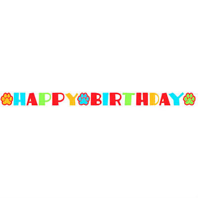 Foam Happy Birthday Banner For Pet   Dog Cat Paws Multi Color Party Decor
