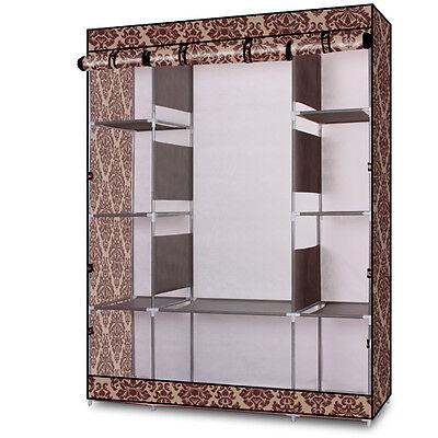 "69"" Portable Closet Storage Organizer Wardrobe Clothes Rack With Shelves Coffee"