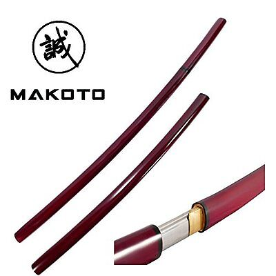 Makoto Handmade Japanese Shirasaya Samurai Katana Sharp Sword Burgundy Red