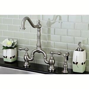 Kingston Brass KS7758ALBS English Country Kitchen Faucet with Sprayer,  8-1/4-Inc