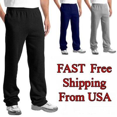 Cotton Fleece Pant (Mens Casual Sweatpants Fleece GYM Workout Sports Active Solid Cotton)