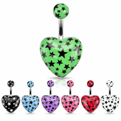 Acrylic Heart Belly Ring Navel Star Green, Black, Blue, Purple, Pink, Red, White Acrylic Purple Navel Ring