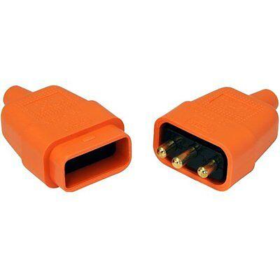 10Amp 3 Clavija Naranja Conector Flex Conector Cable Eléctrico Enchufe 81438
