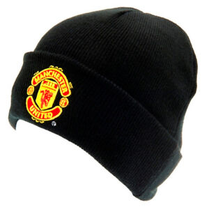 MANCHESTER UNITED FC Official Knitted Hat TU BLK Black Beanie