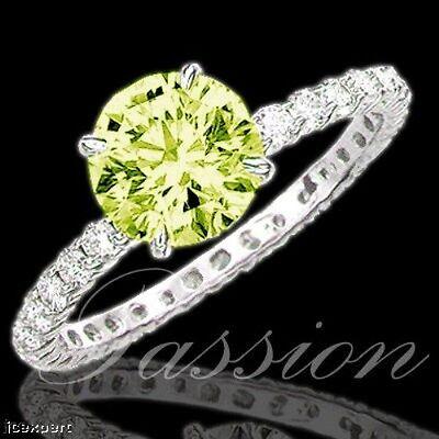 5.67 Carat Fancy Vivid Greenish Yellow Round Brilliant Cut Diamond Ring SI GIA