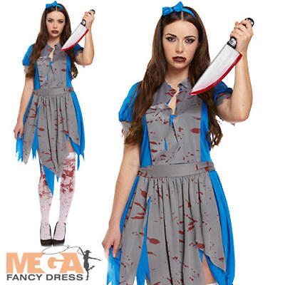 Alice in Horror Land Ladies Fancy Dress Fairytale Zombie Adult Halloween Costume - Zombieland Costumes Halloween